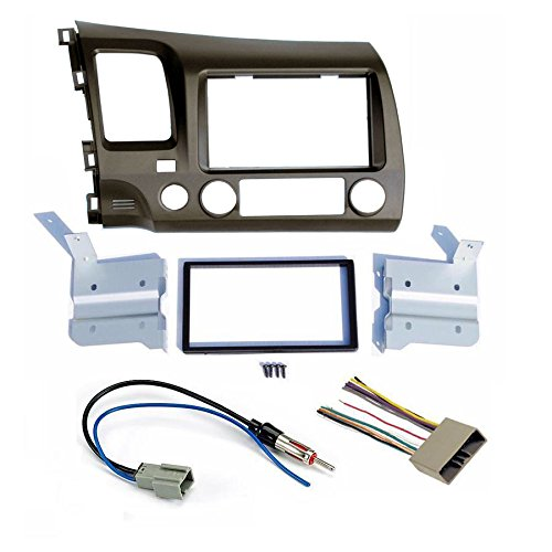Honda Civic 2006 2007 2008 2009 2010 2011 Earth Taupe Aftermarket Radio Stereo Double Din Install/Installation Dash Kit with Wiring Harness and Antenna (Dbl Dash)