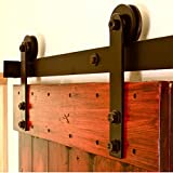 5 panel exterior door - Antique Sliding Barn Door Hardware for Interior & Exterior, No Noise Modern Country Style Barn Wood Door Track Hardware Kit, Includes All Accessories (Shape I)