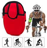 Yonger Outdoors Sports Portable Multifunctional Neoprene Arm Bag Pouch Wrist Wear Gym Running Cycling Smartphone Arm Sleeve Pocket Armband Travel Storage Bag Box (Red)