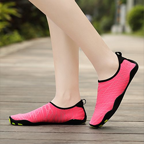 Wasserschuhe Mens Womens Beach Swim Schuhe Quick-Dry Aqua Socken Pool Schuhe für Surf Yoga Wassergymnastik Rosa