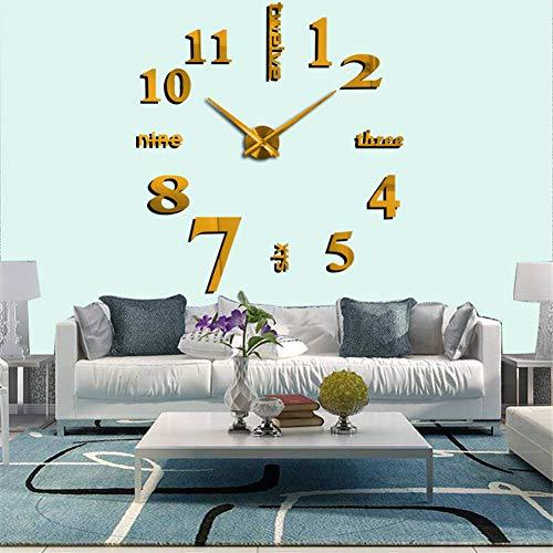 Relojes de pared decorativos 3D espejados dorada