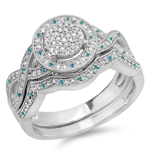 0.55 Carat (ctw) Sterling Silver Round Blue & White Diamond Womens Engagement Ring Set 1/2 CT (Size 8.5)