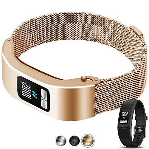 C2D JOY Compatible with Garmin vivofit 4 Replacement Band with Metal case, Fashion Watch Band for Daily wear Soft, Breathable Metal Weave - Rose Gold, Medium