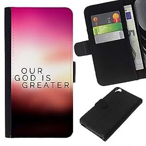 EJOY---La carpeta del tirón la caja de cuero de alta calidad de la PU Caso protector / HTC Desire 820 / --BIBLIA Nuestro Dios es más grande