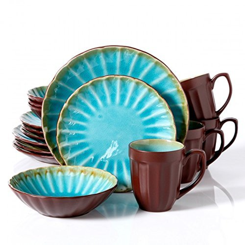 Gibson Sillano 16pc Dinnerware Set-turquiose Crackle Reative Scallop by Gibson