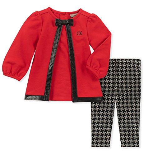 Calvin Klein Baby Girls 2 Pieces Tunic Legging Set, red, 6-9 Months