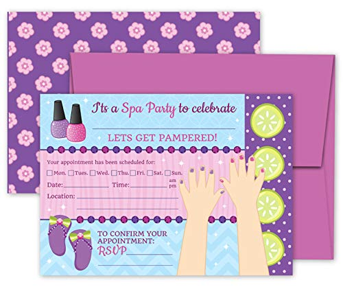 Deluxe Spa Salon Pampering Makeup Makeover Party Invitations- 20 Large Double Sided 5 x 7 Inch Invite Cards with Purple Envelopes ()