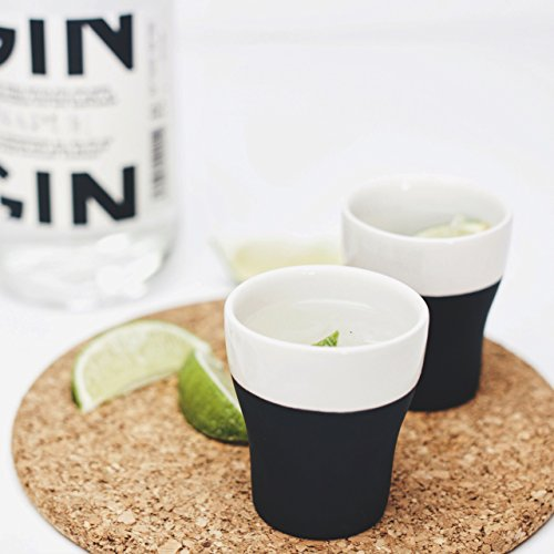 Magisso 70628 Line Naturally Cooling Shot Glass Set of 4, Black/White ()