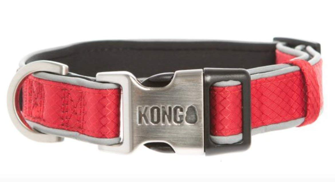 by Barker Brands Inc. Kong Reflective Premium Neoprene Padded Dog Collar (Red, Large)