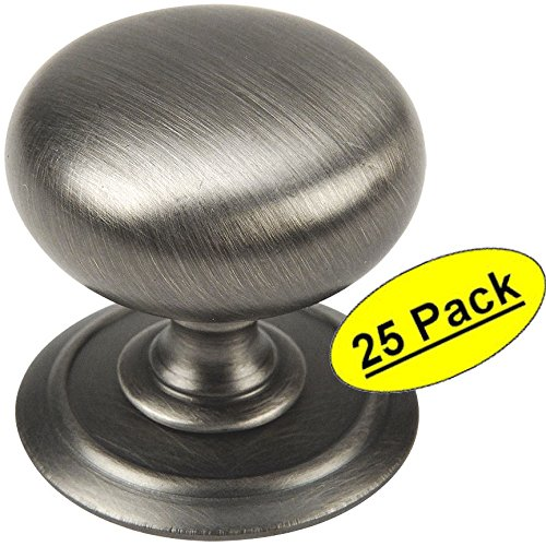 25 Pack - Cosmas 6542AS Antique Silver Round Cabinet Hardware Knob with Backplate - 1-1/4