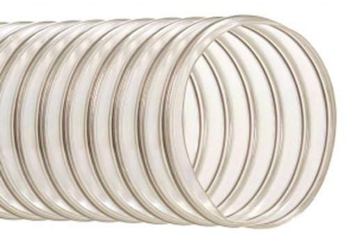 Hi-Tech Duravent UFD Series Urethane Abrasion Resistant Duct Hose, Wire Reinforced, Clear, 6'' ID, 25' Length