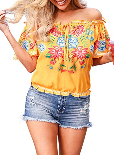 - Asvivid Womens Summer Sexy Off Shoulder Slash Smock Neck Blouse Floral Printed Blouses Tie Knot Tunics M Yellow