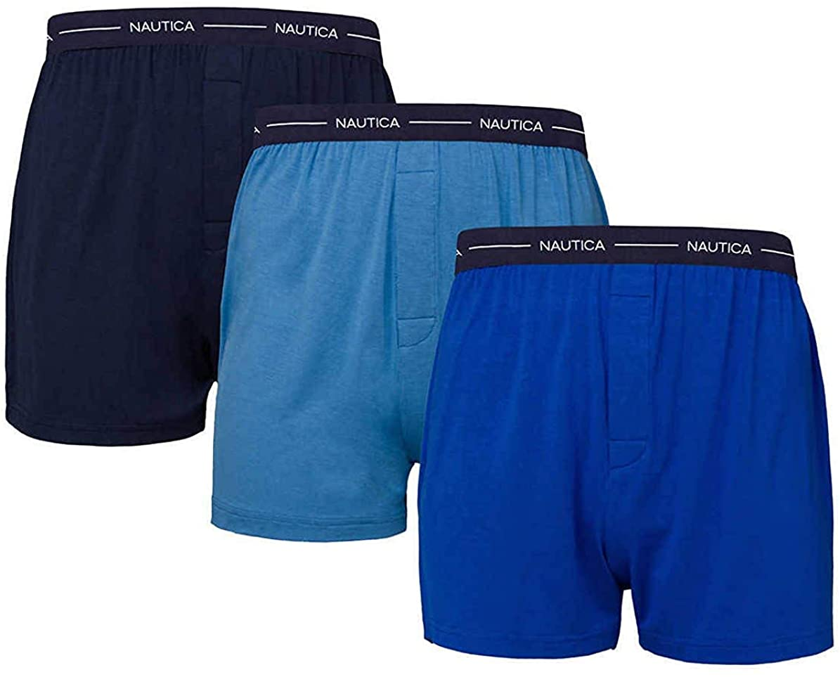 Nautica Men's Boxer Modal Cotton Fit Boxer with Functional Fly Tagless, 3 Pack