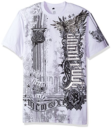 Southpole Mens Short Sleeve Hd, Foil, Flock Print All Over Graphic Tee