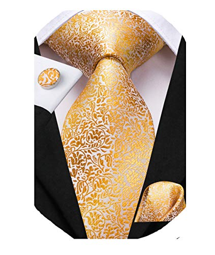 (Dubulle Mens Gold Tie Set Necktie and Pocket Square with Cufflinks for)