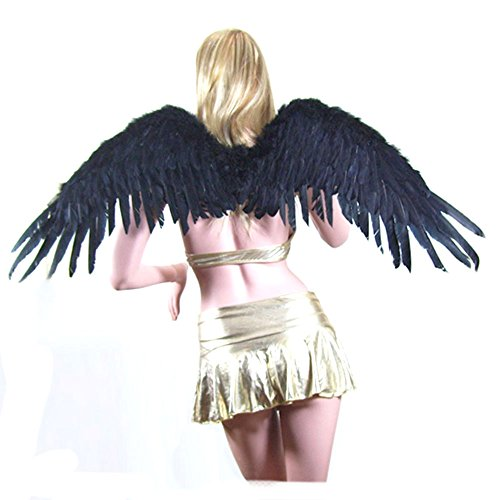 SACASUSA (TM Large Black Feather Angel Fairy Halloween costume Wings