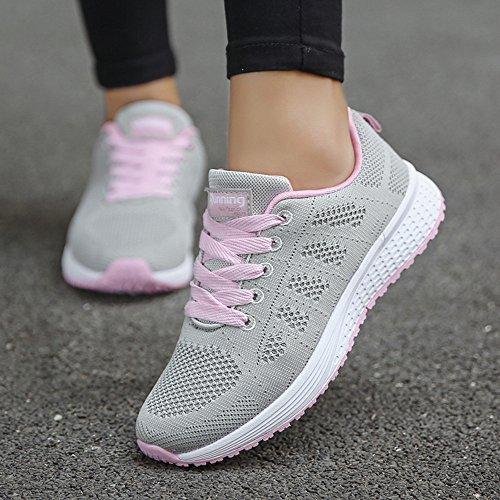 1 Cordones Con Zapatos Deportivos Zapatillas Sandalias Mujer Gris Para Running Mujer,bbestseller Cabeza Casuales Sneakers Planas 6qFwpH