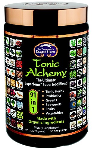 Dragon Herbs - Tonic Alchemy - Superfood Green Powder Blend 9.5 oz - Made with Organic Ingredients - 100% Vegan - Herbs, Probiotics, Vegetables, Fruits, Sprouts, Whole Grasses, Seaweed, Antioxidants