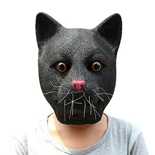 Gabkey Novelty Halloween Costume Party Latex Animal Black Cat Head (Devil Black Latex Half Mask)
