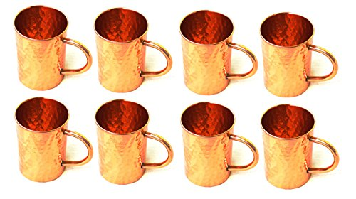BLUE NIGHT Hammered Copper Moscow Mule Mug Handmade of 100% Pure Copper, Drinkware Accessories Hammered Copper Moscow Mule Mug Capacity-16 Oz,Set of-8