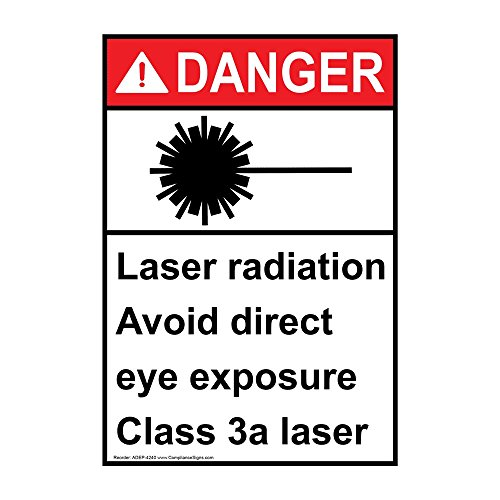 Avoid Eye - Danger Laser Radiation Avoid Direct Eye Exposure Class 3A Laser ANSI Safety Label Decal, 5x3.5 in. Vinyl 4-Pack by ComplianceSigns