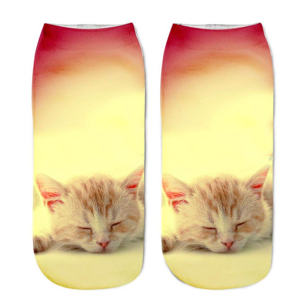 Womens Mens Cute 3D Cat Printed Anklet Casual Novelty Funny Short Socks (A)
