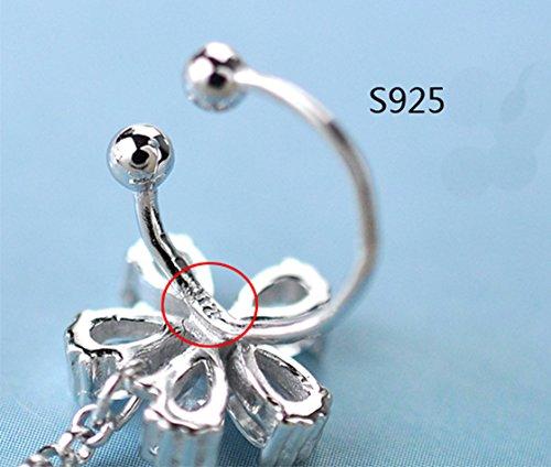 S925 Sterling Silver Non Piercing Ear Clip Earrings CZ Flower Dangle Cuff Earrings(1Paris) by Amkaka (Image #4)