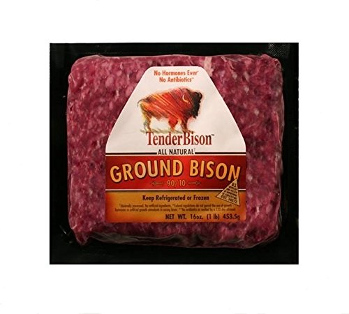 Ground Beer - Ground Buffalo 100% Extra Lean: 100% All-Natural, Grass-Fed North American Buffalo Meat with no growth hormones or antibiotics - USDA Inspected - 16 oz. each - (Count 4)