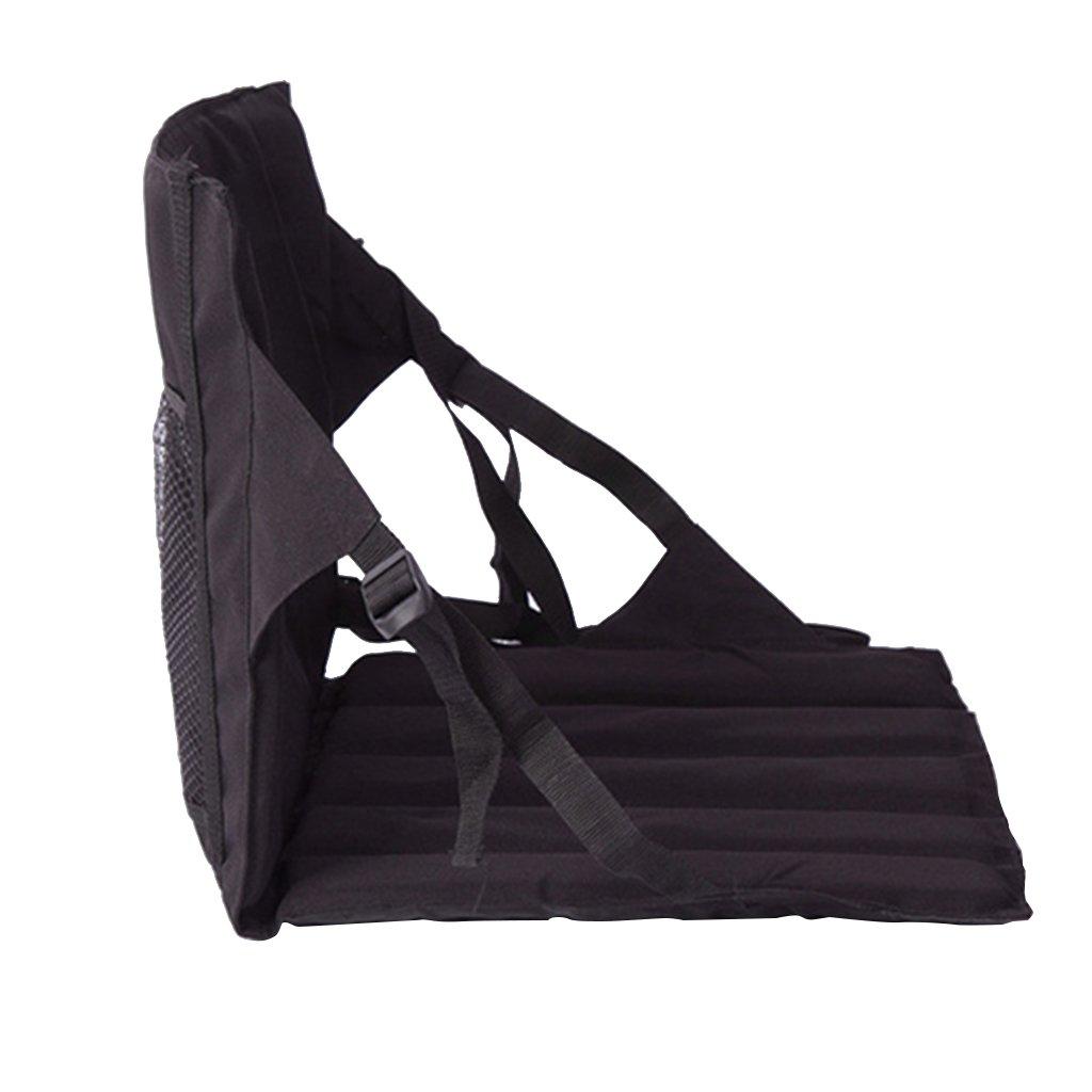 fenteerポータブル折りたたみ式スタジアムシート椅子防水ダブルPersonベンチクッションパッドforビーチピクニックキャンプスポーツゲーム B077QJKS1J 78 x 42 x 2cm|ブラック ブラック 78 x 42 x 2cm