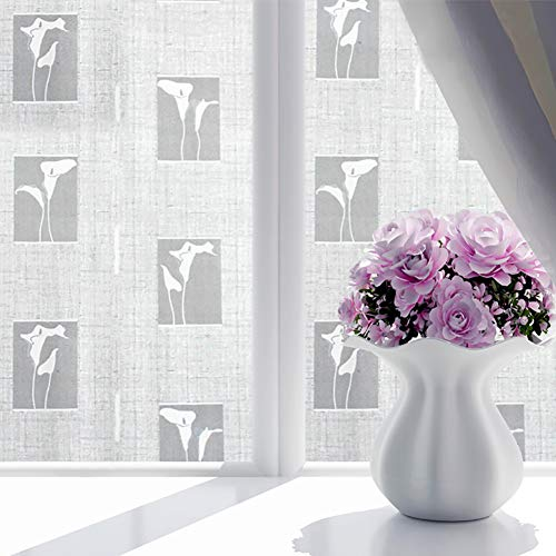 ChezMax Decorative Privacy Window Film Frosted Glass Film Stained Glass Window Sticker with Glue Self Adhesive Glass Sticker Calla Lily 35.4