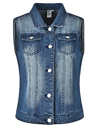 per Donna signore le con tasche Miss Cowboy a risvolto Moly blu corta Vest qOnOUwzgf