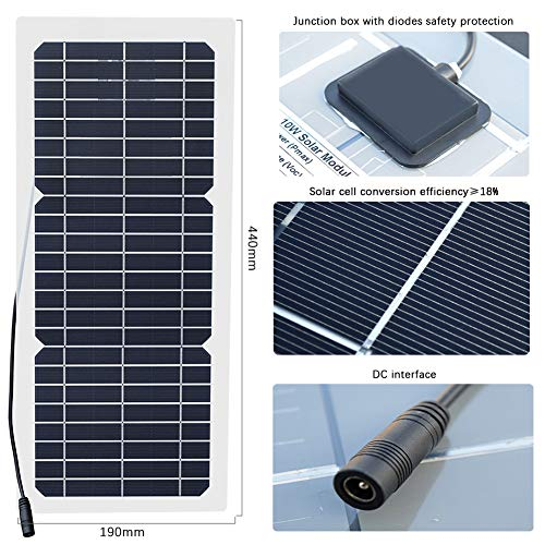 XINPUGUANG 10W 12V Flexible Solar Panel Monocrystalline Photovoltaic PV Module with DC Alligator Clip Cable for RV Boat Cabin Tent Car Trucks Trailers by XINPUGUANG (Image #2)