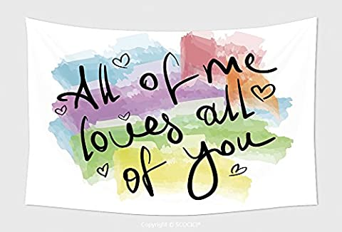 Home Decor Tapestry Wall Hanging All Of Me Loves All Of You Romantic Love Quote Note As Greeting Card Postcard Poster Sticker 304172153 for Bedroom Living Room - Multi Persian Panel