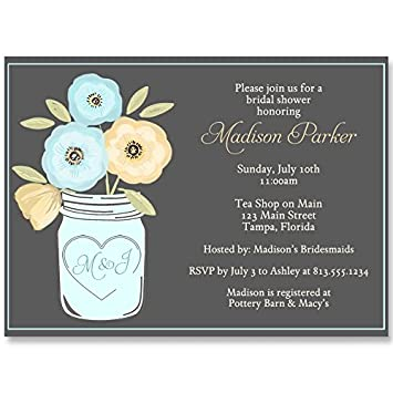 mason jar bridal shower invitations watercolor flowers gray yellow aqua blue