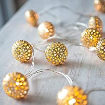 Buwico® 5 M 20 LED Outingdoor Indoor LED Decoration Solar Powered Silver Moroccan Orb Warm White LED String Lights for Wedding Party Fairy Lights Christmas Decoration