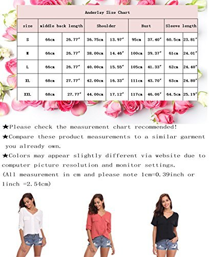 LYHNMW YHNMW Women's Casual Button Down Shirt Loose Roll-up Sleeve Tops Chiffon V-Neck Blouse by LYHNMW (Image #7)
