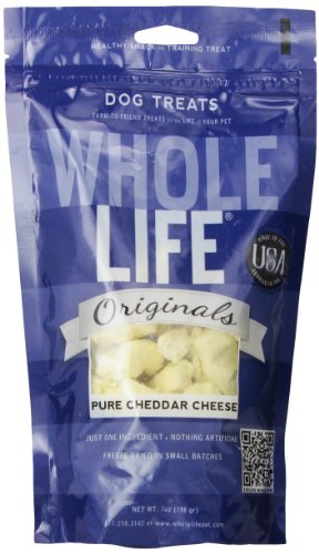Whole Life Pet Single Ingredient USA Cheddar Cheese Curd Treats for Dogs, 7-Ounce