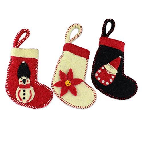- NOVICA HD0060 Christmas Stockings' (Set of 3) Wool Ornaments