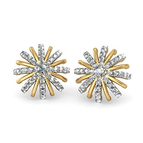 Or jaune 18K 0,54CT TW White-diamond (IJ | SI) Boucles d'oreille à tige