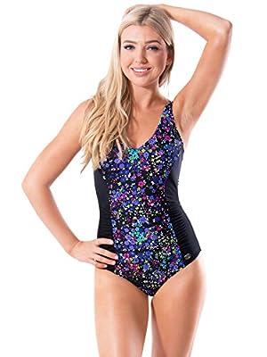 AbbyLexi Women's Swimwear Retro V Neck One Piece Plus Size Swimsuit Bathing Suit