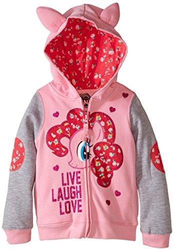 [My Little Pony Little Girls' Live Laugh Love Hoodie, Pink/Heather Grey, 6X] (Super Nerd Costume)
