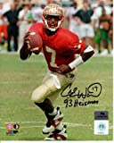 "Charlie Ward Autographed FSU Florida State Seminoles (Garnet Jersey) 8x10 Photo w/ ""93 Heisman"""