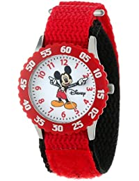 Kids' W000229 Mickey Mouse Stainless Steel Time Teacher Watch with Red Nylon Band