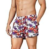 NUWFOR Fashion Men's Loose-Fitting Printed Pocket Elastic Waistband Beach Trousers(Purple,US S Waist:29.92-33.86'')