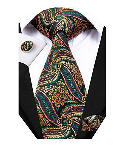 Dubulle Mens Orange and Green Designer Silk Tie and Cufflinks with Handkerchief