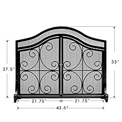 Amagabeli Fireplace Screen with Doors Large Flat Guard Fire Screens Outdoor Metal Decorative Mesh Solid Baby Safe Proof Wrought Iron Fire Place Panels Wood Burning Stove Accessories Black from Amagabeli