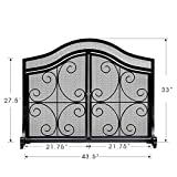 Fireplace Screen with Doors Flat Guard Fire Screens Outdoor Large Metal Decorative Mesh Solid Baby Safety Proof Fench Wood Burning Stove Accessories Wrought Iron Fire Place Panels Cover Black