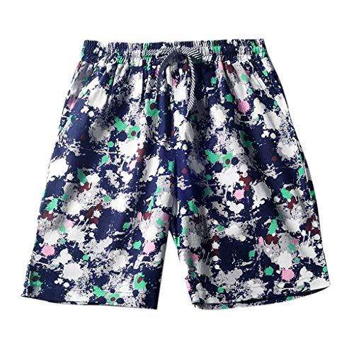 iCODOD Men's Shorts Linen Shorts Sports Work Casual Swim Trunks Printed Beach Surf Shorts Pants Trousers White 3XL