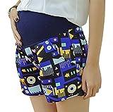 Hibukk Colorful Vibrant Geo Print Pocketed Full Panel A Line Maternity Shorts, Blue 2,Manufacturer(M)