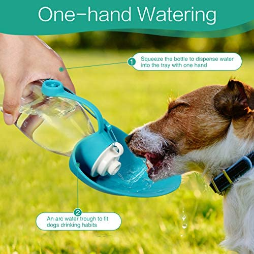 ORIA Botella de agua para perro, botella portátil de agua para mascotas, botella de agua para mascotas, 20 onzas con dispensador de bolsas de residuos para perros, botellas de agua para viajes, caminar 5